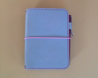 Travelers Notebook A6 Size with Pink Stitching
