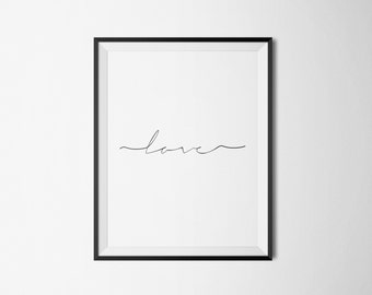 Love Typography Art Print Digital Poster