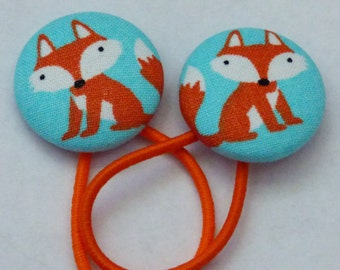 Fabric Covered Button Ponytail Holder – Foxes