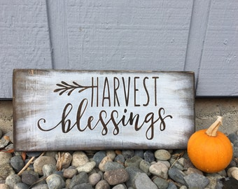 Harvest blessings home decor wooden fall thanksgiving sign