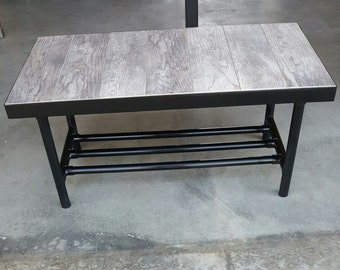 Custom Hand Crafted Modern Metal with Rustic Tile Coffee Table