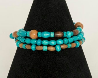 Turquoise and brown wooden bead bracelet sets