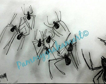 spider drawing-black and white-art-spider art-pen and ink-OOAK-original spider drawing-arachnophobia-arachnophile-arachnid