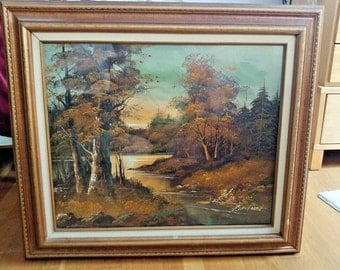 Vintage G. Whitman original signed oil on canvas painting