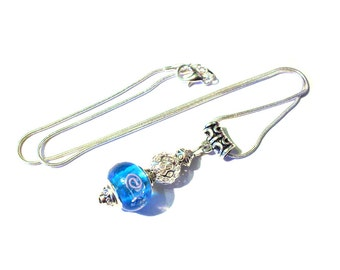 Vintage necklace Silver 925, blue murano glass bead