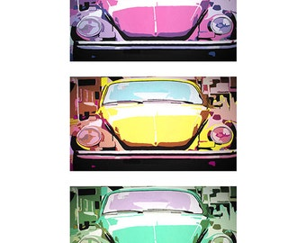 VW Beetle Bug Three Way Graphic Print
