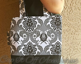 Black and white Damask tote bag - tote bag - purse - black - white - damask - gifts - handmade - gifts for her - travel bag - bags - purses