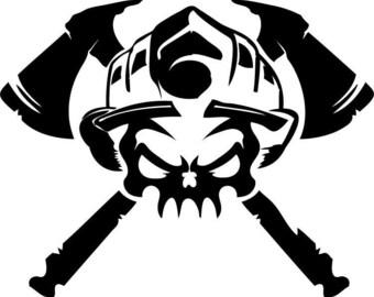Skull Helmet Decal Etsy - Fire helmet decals