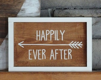 Inspirational Wood Sign | Home Decor | Rustic Decor | Farmhouse Decor | Shelf Sitter | Newlywed Gift | Happily Ever After | Framed Sign