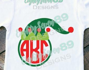 Elf Hat Monogram Shirt; Elf Hat; Christmas Shirt; Holiday Shirt; Youth Shirt