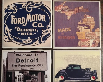 Set of 4 Vintage Detroit Coasters
