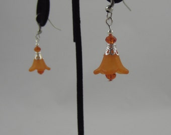 Orange Flower Dangling Earrings