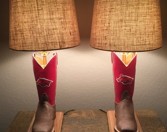 Arkansas Razorback Boot Lamp