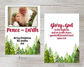 Peace on Earth, Glory to God, christian, digital christmas photo card, christmas card, customizable, photo card, christmas tree, religious,