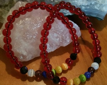 Chakra bracelet w/red beads