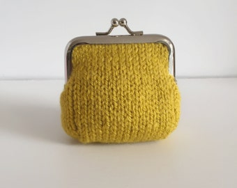Small Coin Purse, Mustard Yellow, Hand Knit Money Bag, Wool Pouch, Kiss lock Snap Purse, Knitted Gifts for Best Friends, Mothers Day Gift