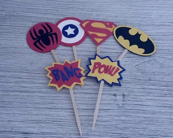 12 Super Hero Cupcake Toppers - superhero batman captain america spiderman superman comic phrases birthday party decorations