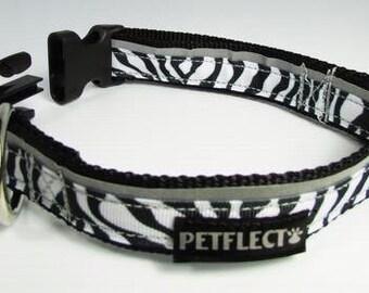 Zebra Reflective Dog Collar