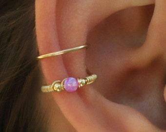 DOUBLE WRAP CUFF, Pink Opal Ear Cuff, Ear Cuff, Fake Piercing, No Piercing, Double Cuff, Cartilage Cuff, Cuff