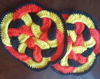 Crochet Trivets or Pot Holders - Set of 2 - Red, Yellow and Black