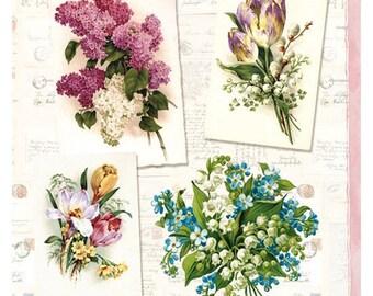 Decoupage napkins (x4) - Vintage Flower Arrangements