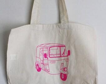 Autorickshaw Print Tote Bag (Pink)