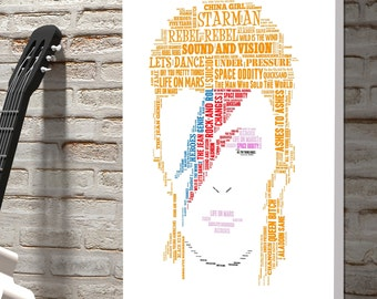 David Bowie Word Art Canvas