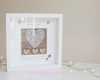 First Anniversary Gift Frame - Paper Heart -Mulberry Paper Roses - Wedding