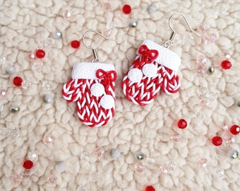 Christmas mittens Earrings mittens Knitted earrings Christmas earrings Christmas jewelry Red mittens Christmas Christmas gifts Gift for her