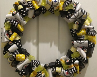 """PRICE REDUCED 16"""" Pittsburgh Steelers Ribbon Wreath--Ready to Ship"""