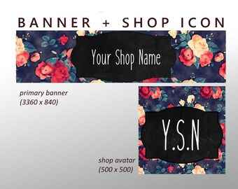 Custom Etsy Banner Set - Banner + Shop Icon / Floral banner set, Etsy Flower banner, Vintage shop banner, Etsy Store Graphics