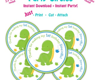 Dinosaur Birthday Party Favor Tags -- Instant Download - Printable   1st Birthday Favor Tags