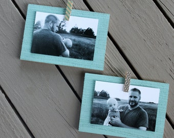 Set of 2 Wooden Photo Holders