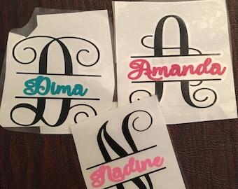 Split Letter Name monogram