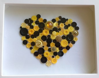 Button Wall Art, Button Heart Wall Art, Button Art in Shadowbox Frame, Nursery Decor