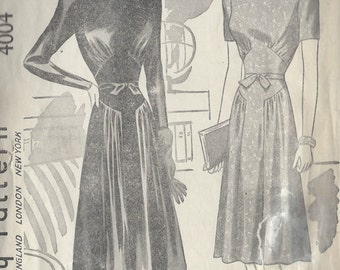 "1940s Vintage Sewing Pattern B38"" DRESS (R433) Simplicity 4004"