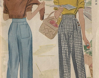 "1943 Vintage Sewing Pattern W28"" PANTS-SLACKS (R593) McCall 5319"