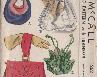 1946 Vintage Sewing Pattern BAGS & TRANSFER (R93) McCall 1262