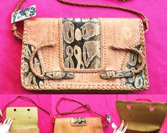 "Vintage Tan Leather Bag With Snakeskin Inserts - 11"" x 6.5"" x 1.5"