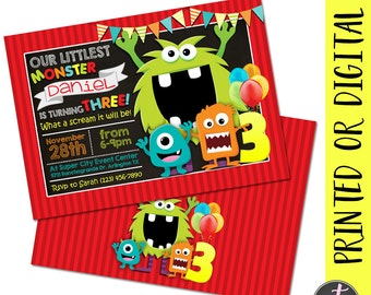 Monster Birthday Invitation, Monster Birthday Party Invite, Monster Party Invitation, Little Monster Invitation, Little Monster Invite