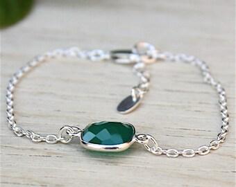 Bracelet gems on channel green agate stone: bracelet by foryoujewels