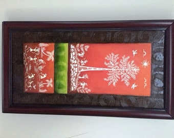 Original Warli Art painting by our shop's own Artisan - Acrylic on Canvas in Red, Green and Red on a Brown background ideal Christmas gift