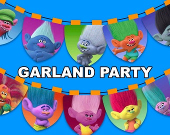 Trolls - Garland Party - 20 pdf files letter size 300 dpi for you Trolls Party - Instant Download