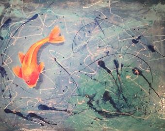 "Original Acrylic Painting Modern Contemporary Abstract Koi Fish Pond Orange Blue Green - ""Greener Pastures"" 30"" x 40"""