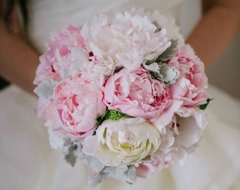 Charlotte - Wedding bouquet, cottage style posy of peonies and foliage.
