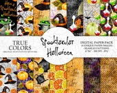 "Halloween Digital Paper Pack Watercolor Hand-Painted Black Green Yellow Orange Pumpkin Potion Hat Caldron Bat Spider Web Teapot Lemon 6x6"""
