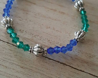Blue and green crystal beaded stretch bracelet. Donate life colors.
