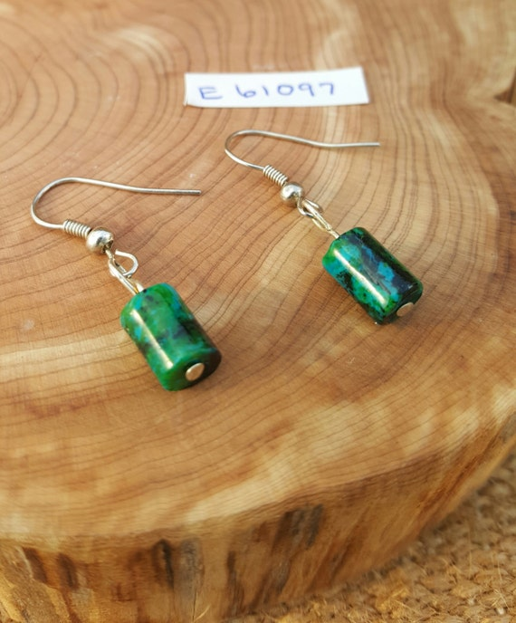 Chrysocolla Earrings / Kelly Green and Turquoise Earrings / Dangle Earrings / Hippie Earrings / Boho Jewelry /E61097