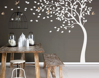 Leafy tree in the blowing wind with birds and falling leaves wall decal white tree nursery wall sticker wall mural