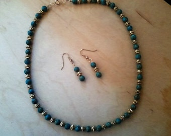 Turquoise and Gold bead necklace and earring set